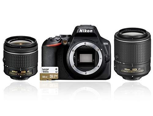 Nikon D3500 Fotocamera Reflex Digitale con Obiettivo Nikkor AF-P DX 18–55 VR e AF-S DX 55-200 VR II, 24.2 Megapixel, LCD 3', SD da 32 GB Lexar, Nero [Nital Card: 4 Anni di Garanzia]
