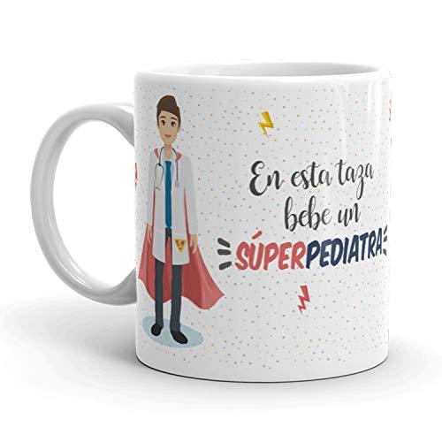 Kembilove Tazas de Café de Pediatra Superhéroe – En Esta Taza Bebe un Súper Pediatra – Tazas de Desayuno para la Oficina – Taza de Café y Té para Trabajadores – Taza de 350 ml
