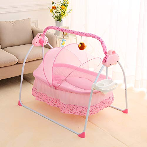 Electric Baby Cradle Auto-Swing Baby Bassinet Swing Bed w/Remote Controller 180° Lie Flat Infant Rocker Crib Sleeping Basket Bed with Pillow+Mat for Babies 0-12months (with Tray, Pink)