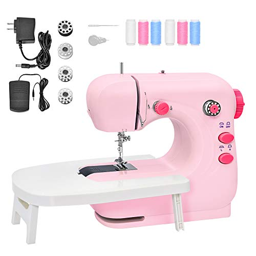 Mini Sewing Machine Portable Electric Sewing Machine for Beginners Lightweight Repairing Tailor Machine with Extension Table Lighting Function Foot Pedal Bobbins Threader PINK