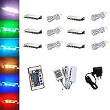 ACCE LED RGB, illuminazione per bordi in vetro, illuminazione vetrine, illuminazione a clip, vetro di alta qualità, specchio in acciaio inox (6 pezzi)