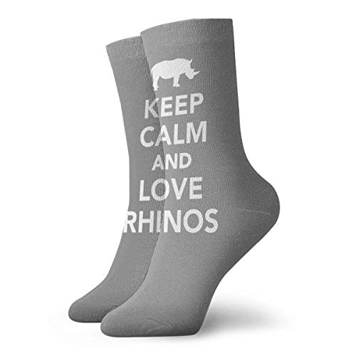Be-ryl Keep Calm and Love Rhinos Crew Socks Chaussettes Fantaisie pour Hommes et Femmes