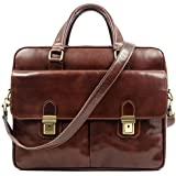 Leather Laptop Briefcase Bag for Men Full Grain Hide Computer Case - Time Resistance