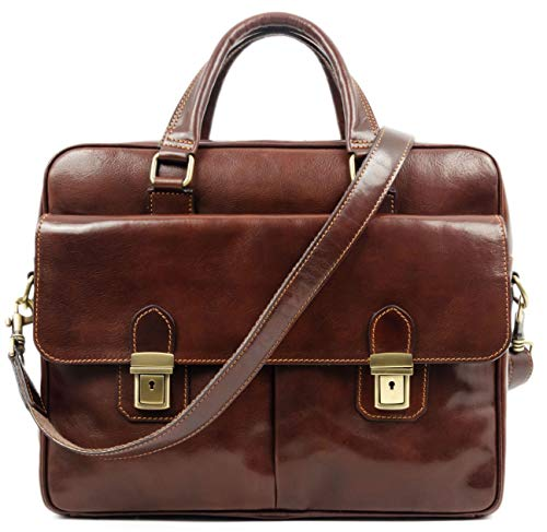 Leather Laptop Briefcase Bag for Men Full Grain Hide Computer Case - Time Resistance