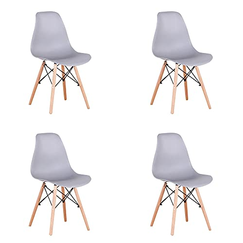 VERDELZ Living Room Chairs/Dining Chairs/Desk Chairs/Office Chairs/Leisure Chairs/Natural Beech Chairs with ABS backrest, a Set of 4