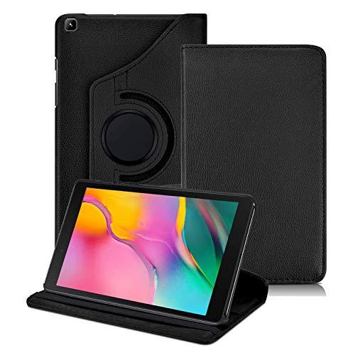 Kemocy Custodia per Samsung Galaxy Tab A 8.0 2019,360 Rotazione Protezione in Pelle PU con Supporto Rotazione 360 Flip Cover per Samsung Galaxy Tab A 8 Pollici 2019 SM-T290 T295 T297 Tablet,Nero