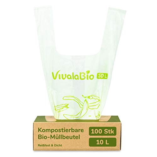 VivalaBio Bio Müllbeutel mit Henkel 6L 10L 100 Stück 100% kompostierbar, reißfeste und dichte Biomüllbeutel Biotüten für Bio Mülleimer, Kompost