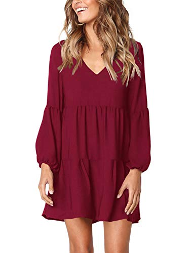 TASAMO Women's Dress Sweet & Cute V-Neck Bell Sleeve Shift Dress Mini Dress (Large,Wine red)