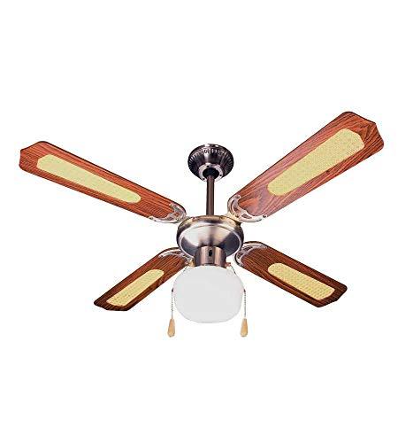 Ardes AR5A107D Ventilatore da Soffitto con Luce, 3 velocità, 4 Pale Reversibile, Comando a Cordicella, Noce/Paglia di Vienna, Diametro 107 Cm