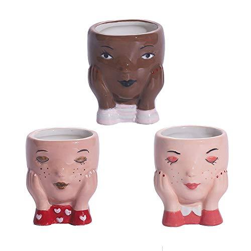 Yiyer Set di 3 Vasi per Piante Grasse con Design a Testa Femminile Fioriera per Cactus Fioriera per Interni in Ceramica Piante Carine