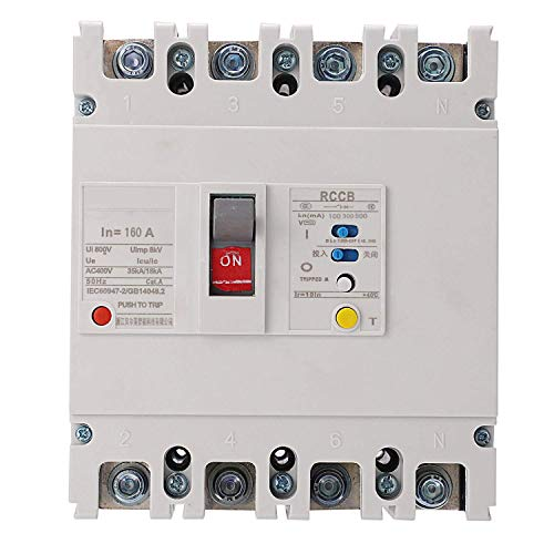 RONGW JKUNYU Interruptor de circuito de fuga, BEM1LE-250/4300 160A 3P+N Interruptor de aire de fuga de bajo voltaje caja moldeada