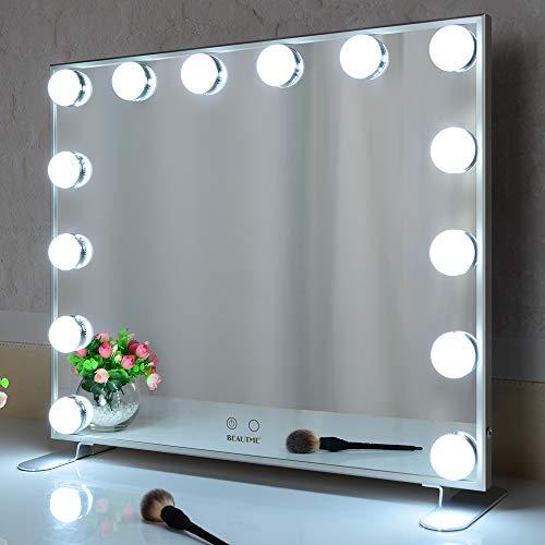 Beautme Hollywood Make-up-Spiegel mit LED-Lichtern, Touch-Steuerung, großer Kosmetikspiegel mit Dimmer-LED-Leuchten, Aluminiumrahmen, Tischplatte oder Wandmontage, Kosmetikspiegel silber