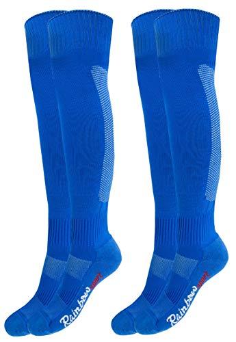 Rainbow Socks - Jungen Mädchen Fußball Soccer Kniestrümpfe - 2 Paar - Blau - Größen 30-35