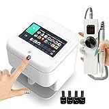 PENNY73 Máquina de Impresión de Uñas con Pantalla Táctil Impresora de Uñas Inteligente Digital Móvil Juego de Manicura con Paquete de Esmalte de Uñas y Taladro Eléctrico para Uñas