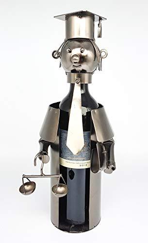 Extravaganter Wein Flaschenhalter Anwalt aus Metall Höhe 33 cm