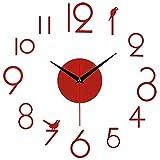 hufeng Reloj de pared sin marco DIY reloj de pared moderno 3D espejo reloj de pared decoración números romanos reloj superficie pegatina reloj