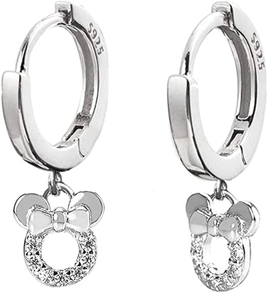 Small Mouse Clearance SALE Limited time Arlington Mall Dangle Hoop Earrings for Girls 925 Si Sterling Women