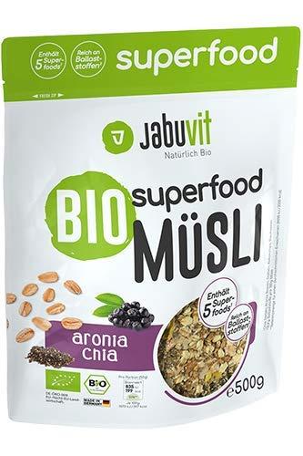 JabuVit Bio-zertifiziertes Superfood Müsli - Ballaststoffe - Omega 3 Fettsäuren -500g (Aronia & Chia)