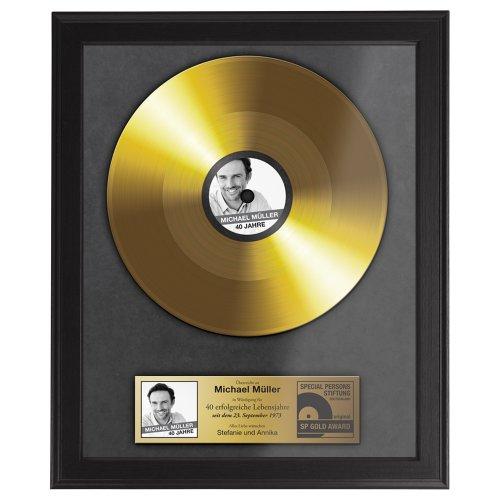 Casa Vivente Goldene Schallplatte, Foto-Druck, Personalisiert mit Namen, Datum und Foto, Wanddeko, Inklusive dunklem Bilderrahmen