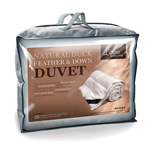Littens - Duck Feather and Down Duvet Quilt, 15 Tog, Double Bed Size, 230TC 100% Cotton Anti-Dust Mite & Down-Proof