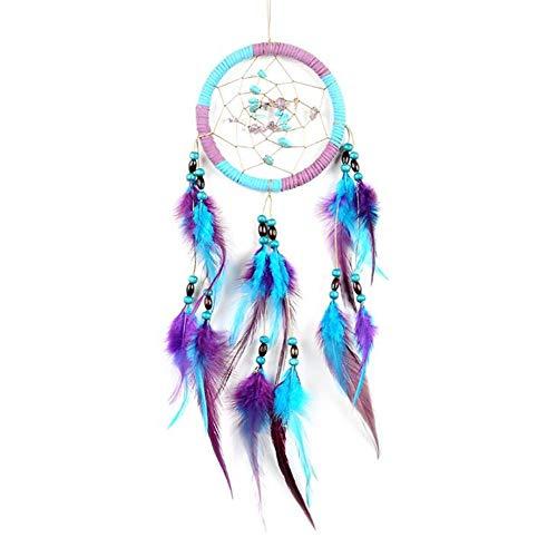 JOLIANN Atrapasueños azul y morado pluma india campanillas de viento tejidas a mano, moda casa dormitorio artesanía coche colgante cabecera ventana adornos decorativos