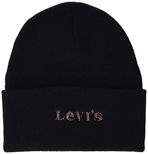 Levi\'s Women\'s Modern Vintage Logo Holiday Expression Beanie-Mütze, Regular Black, One Size