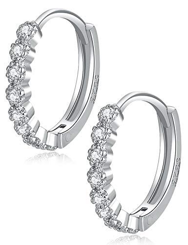Silber Creolen Ohrringe für Damen, 925 Sterling Silber Klein Runde Knorpel Creolen mit AAA Zirkonia für Damen Mädchen, Kommt in Schmuck Geschenk Box - Durchmesser: 12 mm