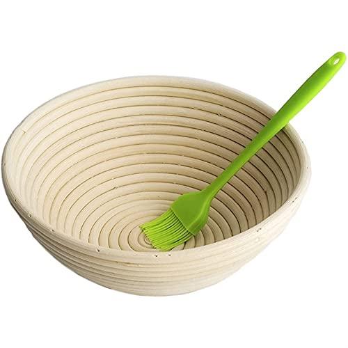 Hornear en casa Cesta de prueba de pan hecho a mano de calidad premium natural de calidad de ratán de ratán y cepillo de silicona