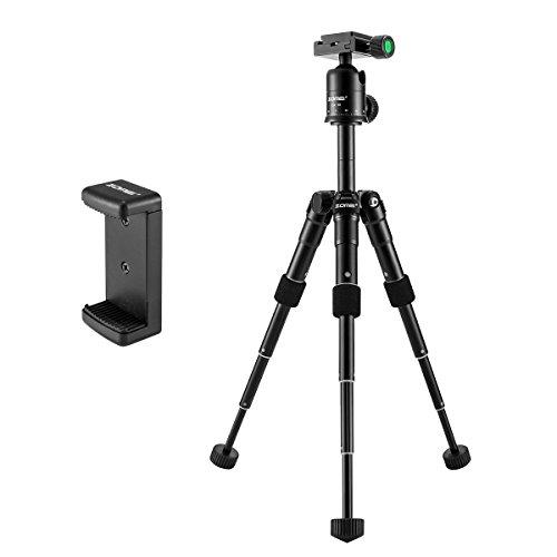 ZOMEI ZM-CK30-BLACK Compact Portable Aluminum Alloy Desktop Tripod Mini Tripod with Ball Head for Sony A6500 Nikon Canon D3300 EOS Rebel T5 Nikon D3400 DSLR Mirrorless Camera, Black