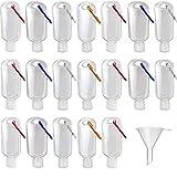 TANGGER 20PCS 30ML Contenitori per Disinfettante per Mani da Viaggio Bottiglie Vuote Trasparenti in Plastica con Gancio e Mini Imbuto da 10PCS,Bottiglie Portatili da Viaggio