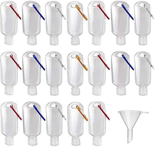 TANGGER 20PCS 30ML Recipientes Desinfectantes para Manos de Viaje Botellas Vacías Transparentes de Plástico con Gancho y 10PCS Mini Embudo,Botellas de Viaje Portátiles
