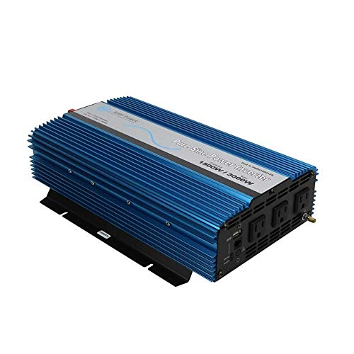 AIMS Power PWRI150024S Pure Sine Power Inverter, 1500W Continuous Power, 3000W Surge Peak Power, 24V DC Input, Pure Sine Wave, USB Port, Triple AC Receptacles, On/off Switch