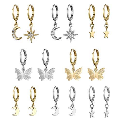 8 Pairs Small Gold Silver Butterfly Hoop Earrings Set for Women Girls Mini Huggie Hoop Earrings with Dangle Charms