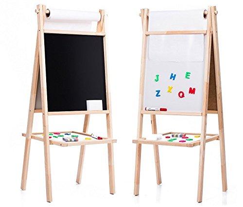 AZZAP Kindertafel 110cm Standtafel Papierrolle Schreibtafel Maltafel Magnettafel Holz Staffelei Maja