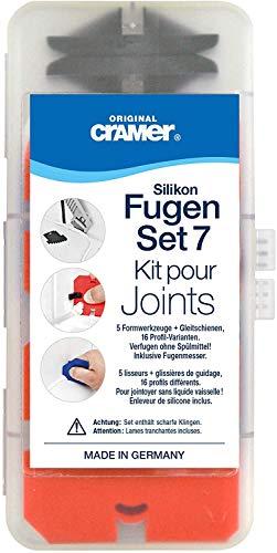 Cramer 40407DE Silikon Fugen-Set 7, Profi-Werkzeugset mit Fugenglätter und Silikonentferner – Verarbeitung ohne Spülmittel, kein Abkleben
