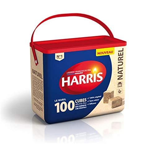 HARRIS - 100 Cubes Allume Feu Naturels Baril - Lot De 3 - Livraison Gratuite