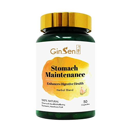 GinSen Stomach Maintenance Slow Release Helps Inflammation, Irritation, Stress, Long Term Indigestion Relief Support & Stomach Pain, Natural Supplement, Chinese Medicine, Made in UK (30 Capsules)