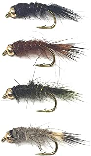 Feeder Creek Fly Fishing Trout Flies - Bead Head Hare's Ear Assortment - 32 Wet Flies - 4 Size Assortment 12,14,16,18 (2 of Each Size) Hare's Ear Natural, Black, Brown, and Olive