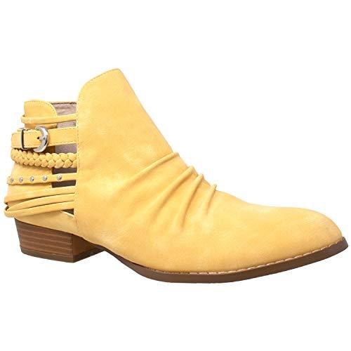 SOBEYO Damen Stiefeletten, Western-Blockabsatz, Stiefelette, Riemen, Nieten, Schnalle, Gelb (gelb), 38.5 EU