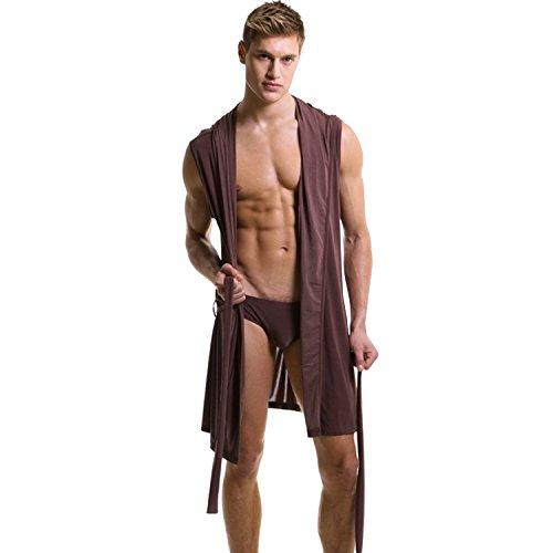 West See Herren Ärmellos Reizvolle Bademäntel Schlafanzug mit Kapuze Nachtwäsche Baderobe (DE M(Herstellergrößer L), Kaffee)