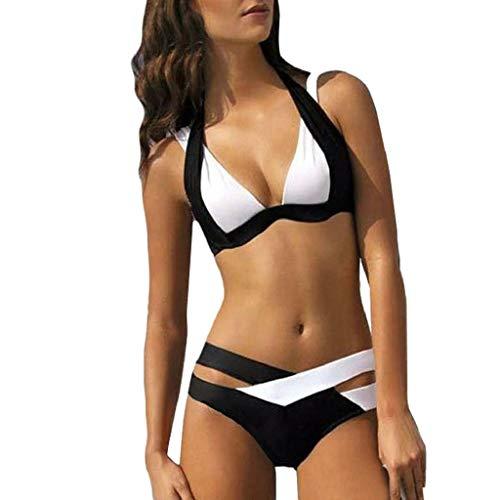 Bikinis Mujer, Dragon868 Dos Piezas Cuello Halter Bikini Brasileño 2020 Mujer Conjunto de Bikini Push Up con Relleno Tanga de Cintura Alta Elegante Traje de Baño Cruzado, Negro Blanco