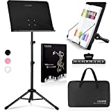 CAHAYA 4 in 1 Dual-use Sheet Music Stand & Desktop Book Stand Metal Portable Solid Back with Carrying Bag, Sheet Music Folder & Clip, Projector Stand, Laptop Stand, Bible Book Stand, Tablet Stand