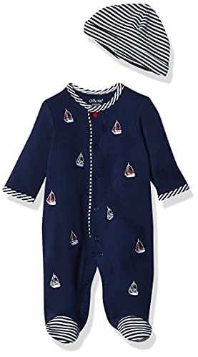 Little Me baby boys Footie Hat infant and toddler rompers, Navy, 3 Months Pack of 1 US (Smocked Whale)