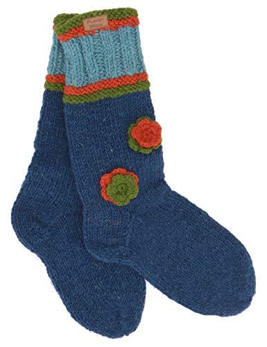 Guru-Shop Handgestrickte Schafwollsocken mit Blümchen, Haussocken, Nepal Socken, Herren/Damen, Petrol, Wolle, Size:Medium, Socken und Beinstulpen Alternative Bekleidung