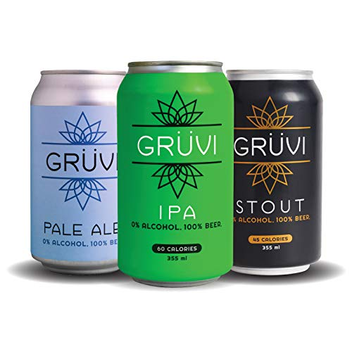 Gruvi Non-Alcoholic Beer Variety Pack, 12-Pack, IPA, Stout, Pale Ale, 0% ABV, Zero Alcohol Beer, NA Beer