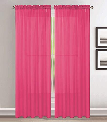 Jody Clarke 2pc Set Sheer Voile Window Treatment Rod Pocket Curtain Panels for Bedroom and Living Room Assorted Colors & Sizes Solid Stitched & Hemmed(Hot Pink, 2PC 54 X 63)