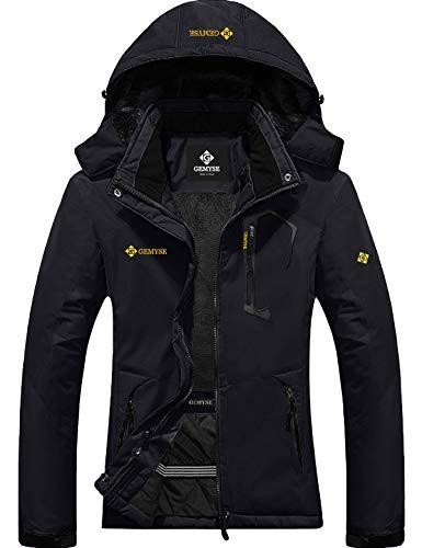 GEMYSE Women's Mountain Waterproof Ski Snow Jacket Winter Windproof Rain Jacket (Black, Medium)