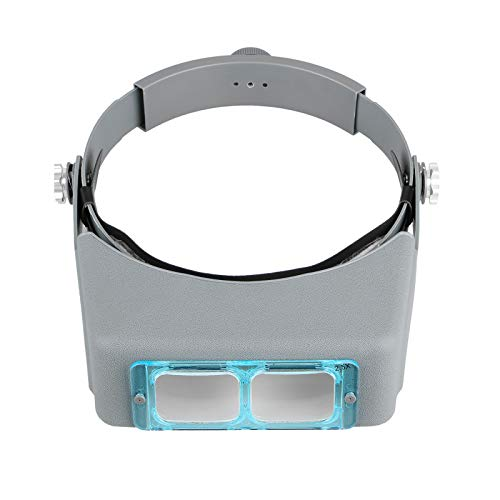 Head Mount Magnifier Headband Magnifier Professional Jeweler Loupe Hands-Free Reading Magnifier Magnifying Glasses with 4 Replaceable Lenses 1.5X,2.0X,2.5X,3.5X Magnification for Watch Repair, Crafts