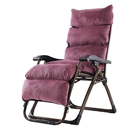Opklapbare fauteuils, vier seizoenen met kussen Zero zwaartekracht stoel voor zwaar gebruik Reclinerende fauteuil Verstelbare opvouwbare voor draagbaar kantoor Patio Beach zwembad Sport kant Outdoor overdekte camping Collapsibl Paars