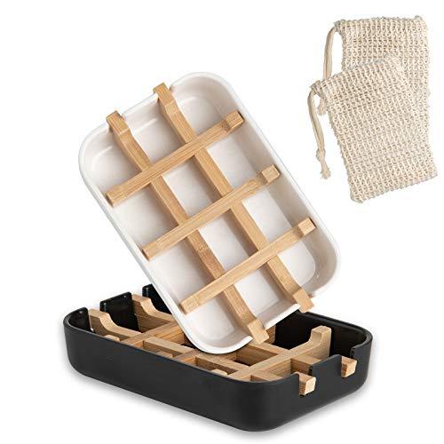 NEW NOAM Seifenschale, 2 Stück Seifenschale Holz Dusche mit 2 Stück Seifensäckchen für Duschküche Badzubehör Natürliche Bambus Seifenhalter (2 Farben)